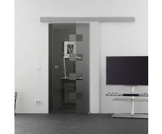 Mein-Glasladen Glasschiebetr Wrfel-Design (W) Schiebetr | 1025 x 2050 mm Glasgre |Basic-Alu-Schienensystem