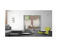 Mein-Glasladen Glasschiebetren 2-flg. 1550x2050mm mit Horizont-Design (H), Basic-Schienensystem, Stangengriffe