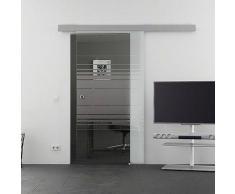 Mein-Glasladen Glasschiebetr 775x2050mm Horizont-Siebdruck (H) Griffmuschel Basic-Schienensystem Levidor