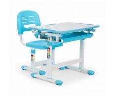 OneConcept - Tommi Kinderschreibtisch-Set 2-tlg. Tisch Stuhl höhenverstellbar blau