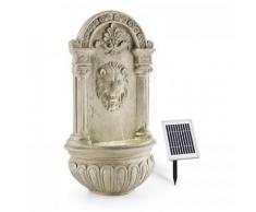Blumfeldt - Löwenstein Wandbrunnen Gartenbrunnen Solar 2W LED Polyresin Steinoptik