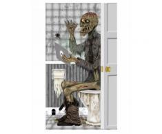 Halloween Tür-Deko Zombie Badezimmer grau 76x152cm