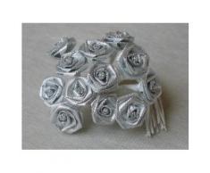 Kunstblumen Rosen Bouquet 12 Stück silber