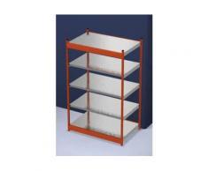 Stabil-Steckregal, einseitig - Regalhöhe 2000 mm, orange/verzinkt, Bodenbreite