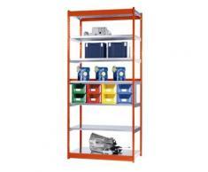 Stabil-Steckregal, einseitig - Regalhöhe 3000 mm, orange/verzinkt, Bodenbreite