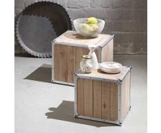 Beistelltisch Set im Loft Design Kiefer massiv Aluminium