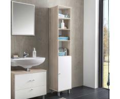 Badezimmer Hochschrank in Weiß Eiche Sonoma 35 cm