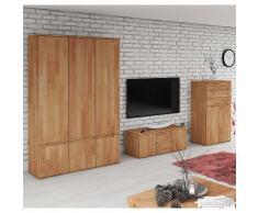 Wohnzimmer Wohnwand aus Buche Massivholz geölt (3-teilig)