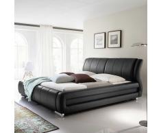 Kunstleder Bett in Schwarz modern