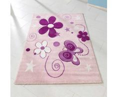 Kinderzimmer Teppich mit Blumen und Schmetterling Weiß Rosa