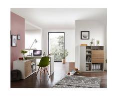Büromöbel in Weiß und Eiche modern (2-teilig)