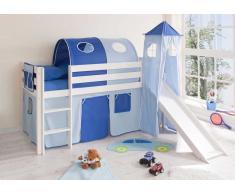 Kinderhochbett aus Kiefer Massivholz mit Rutsche und Turm