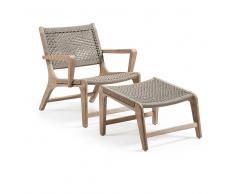 Geflecht Sessel mit Fußhocker Akazie Massivholz (2-teilig)
