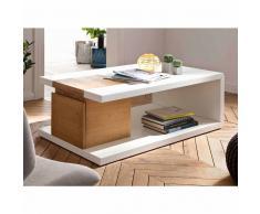 Wohnzimmer Couchtisch in Weiß Asteiche furniert 110 cm