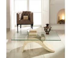 Wohnzimmer Couchtisch aus Creme Stein Glasplatte