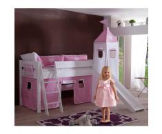 Mädchen-Hochbett mit Absturzsicherung Weiß-Rosa