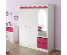 Kinderzimmer Kleiderschrank in Weiß-Pink Weiß