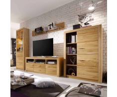 Wohnzimmer Schrankwand aus Eiche geölt 200 cm hoch (4-teilig)