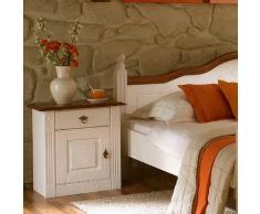 Nachtkommode in Weiß-Nussbaumfarben Landhausstil