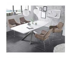 Design Essgruppe in Braun Weiß modern (5-teilig)