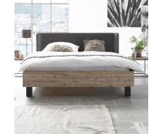 Komfortbett aus Akazie Massivholz mit Polsterkopfteil in Anthrazit