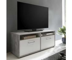 TV Board mit Klappen Weiß und Beton Grau