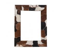 Design Wandspiegel mit Ziegenfell Rahmen Braun