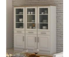 Küchen Vitrinenschrank in Weiß 150 cm