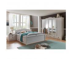 Schlafzimmer Komplettset mit Doppelbett Weiß Kiefer massiv (4-teilig)