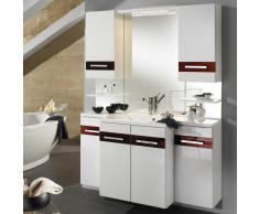 Badezimmer Block in Hochglanz Weiß Rot