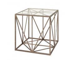 Design Beistelltisch in Bronzefarben Metall Glasplatte