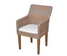 Polyrattan Sessel in Grau Braun Esszimmer