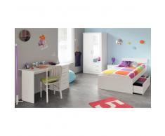 Komplett Jugendzimmer in Weiß mit Stauraumbett (4-teilig)