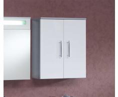 Badezimmer Hängeschrank Zweitürig Grau-Weiß