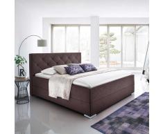 Bett in Braun Stoffbezug