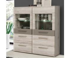 Highboard in Eiche hell Beleuchtung