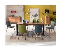 Moderne Esszimmergruppe mit bunten Stühlen Holztisch (7-teilig)