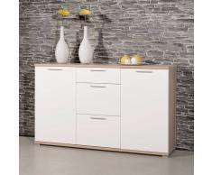 Wohnzimmer Sideboard in Hochglanz Weiß Buche
