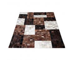 Teppich in Braun Weiß Kuhfell patchwork