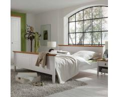 Massivholzbett im Landhausstil Weiß Bernsteinfarben