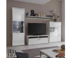TV Anbauwand in LED Beleuchtung Hochglanz Weiß (4-teilig)