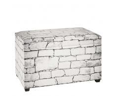 Truhenbank im Mauer Design Weiß Grau