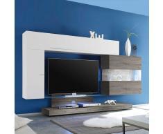 TV Anbauwand in Weiß Hochglanz Eiche Grau modern (4-teilig)