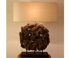 Tischlampe aus Recyclingholz Braun Beige