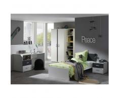 Jugendzimmer komplett in Weiß Anthrazit (5-teilig)