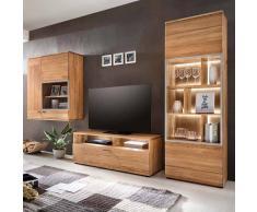 Wohnzimmer Schrankwand aus Eiche massiv natur geölt (3-teilig)