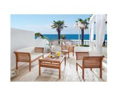 Loungemöbel Sitzgruppe Loungeset aus Eukalyptus Massivholz geölt (4-teilig)