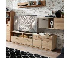 TV Board aus Wildeiche Massivholz Glas Grau