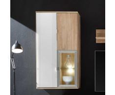 Wohnzimmer Hängevitrine aus Wildeiche Massivholz Weiß Glas
