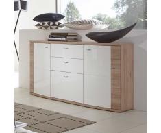 Wohnzimmer Sideboard in Hochglanz Weiß Eiche modern